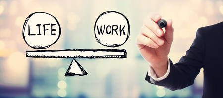 Life and work balance with businessman on blurred abstract background
