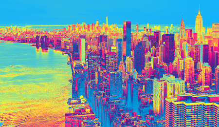 Aerial view of the New York City skyline near Midtown funky gradient
