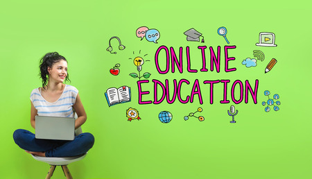 Online education with young woman using a laptop computer 版權商用圖片