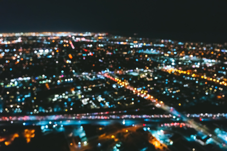 Aerial blurred view of a massive highway in Los Angeles, CA at night Stock Photo