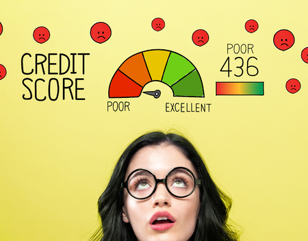 Poor credit score theme with young woman wearing eye glasses Zdjęcie Seryjne