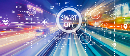 Smart city concept with abstract high speed technology POV motion blur Stock Photo