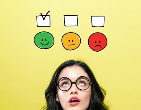 Survey with young woman wearing eye glasses