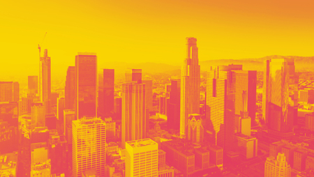 Aerial view of a Downtown Los Angeles at sunset with duotone