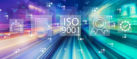 ISO 9001 with abstract high speed technology POV motion blur Stok Fotoğraf