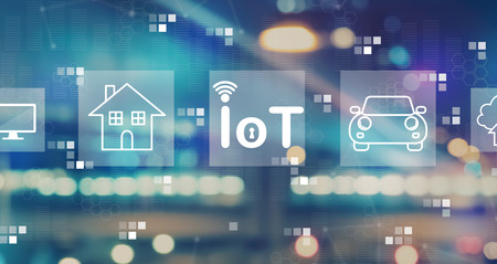 IoT theme with blurred city abstract lights background Фото со стока