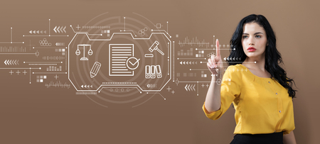 Compliance theme with business woman on a brown background