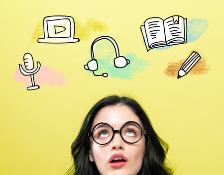 E-Learning illustration with young woman wearing eye glasses
