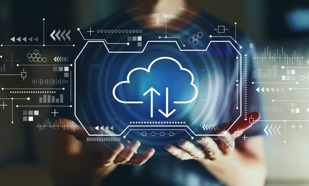 Cloud computing with young man in the night Stock Photo