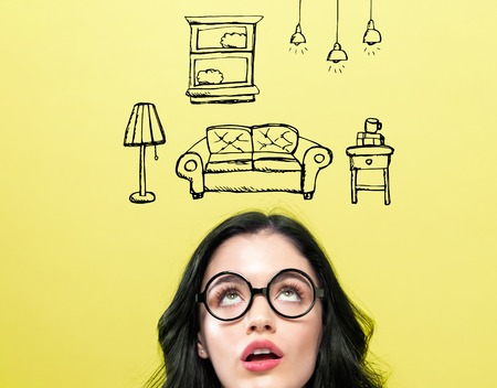 New apartment dream with young woman wearing eye glasses