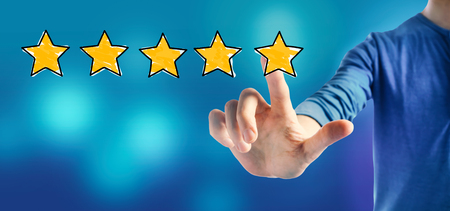 Five star rating with a man on a blue background