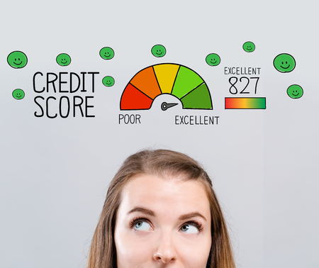 Excellent credit score theme with young woman looking upwards