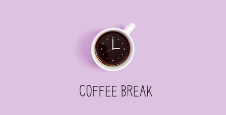 Coffee cup with clock overhead view flat lay