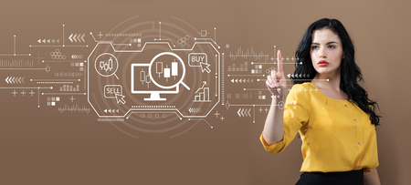Stock trading concept with business woman on a brown background