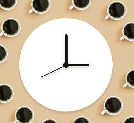 Coffee cups with clock overhead view flat lay