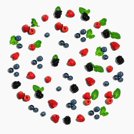 Collection of berries overhead view flat lay
