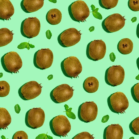 Collection of kiwi fruits overhead view flat lay