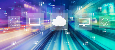 Cloud computing with abstract high speed technology POV motion blur Фото со стока