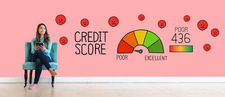 Poor credit score theme with young woman holding a tablet computer