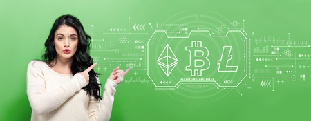 Cryptocurrency - Bitcoin, Ethereum, Litecoin with young woman pointing on a green background