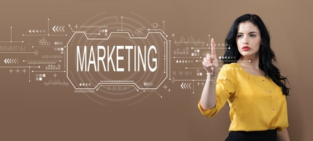 Marketing concept with business woman on a brown background
