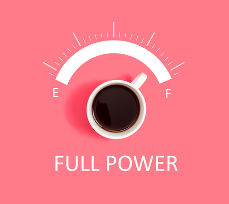 Coffee full power concept overhead view flat lay