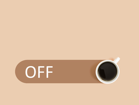 Coffee with power off switch overhead view flat lay
