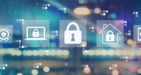 Cyber security with blurred city abstract lights background