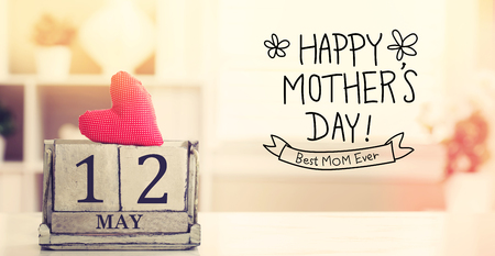 12 May Happy Mothers Day message with wooden block calendar
