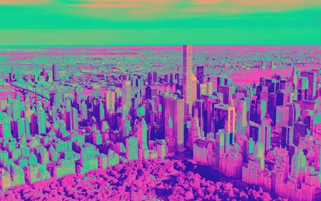 Aerial view of Central Park and Midtown Manhattan, NY funky gradient