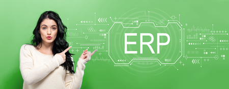 Enterprise resource planning with young woman pointing on a green background