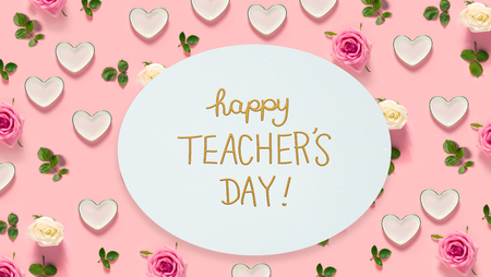 Teachers Day message with pink roses and hearts Stock Photo