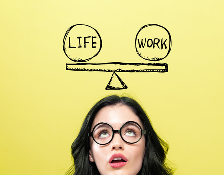 Life and work balance with young woman wearing eye glasses