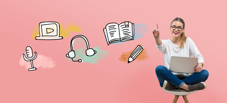 E-Learning illustration with young woman using her laptop