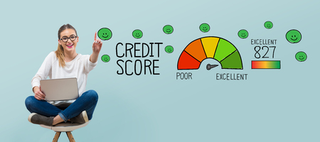 Excellent credit score theme with young woman using her laptop