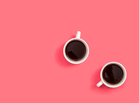 Two coffee cup overhead view flat lay Stock Photo - 121750045