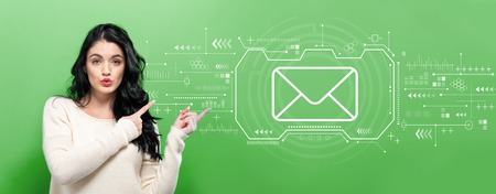 Email with young woman pointing on a green background