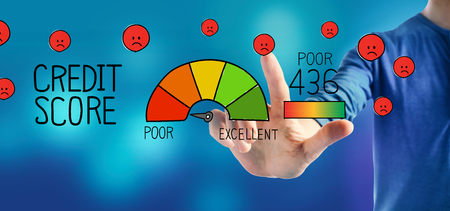 Poor credit score theme with a man on a blue background Stok Fotoğraf - 121899383
