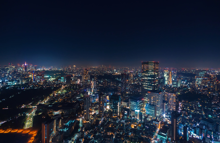 Aerial view of Tokyo, Japan from Roppongi Hills at night Stock Photo