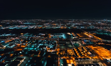 Aerial view of Los Angeles, CA near LAX at night 스톡 콘텐츠