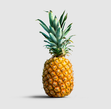One pineapple on a solid color background 版權商用圖片
