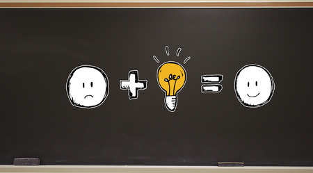 Good idea equals happy on a blackboard with erasers