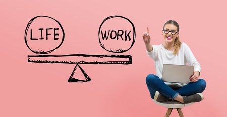 Life and work balance with young woman using her laptop