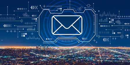 Email with downtown Los Angeles at night Stok Fotoğraf