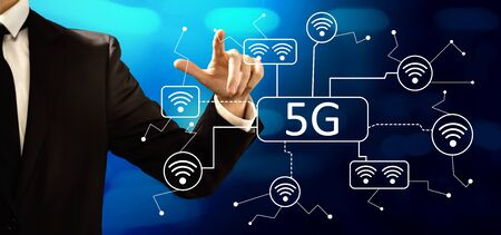 5G network with businessman on a dark blue background