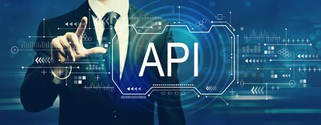 API concept with businessman on a dark blue background Stok Fotoğraf
