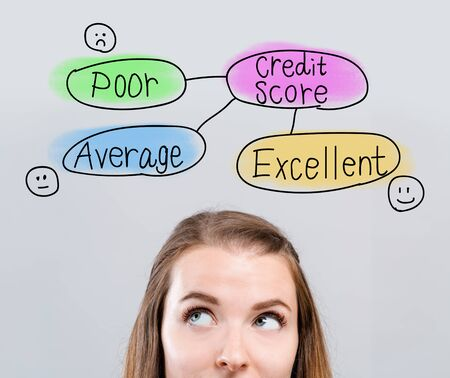 Credit score theme with young woman looking upwards