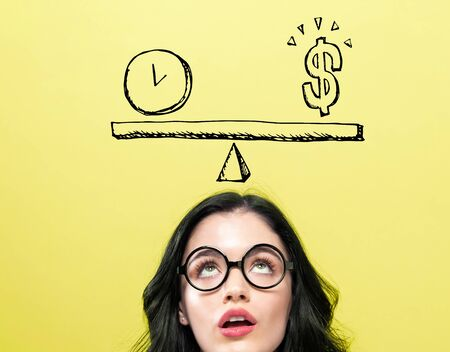 Time and money on the scale with young woman wearing eye glasses Banco de Imagens