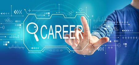 Searching career theme with a man on a blue background Imagens - 124669013
