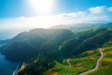 Aerial view of Marin Headlands and Golden Gate bay at sunset Stock Photo